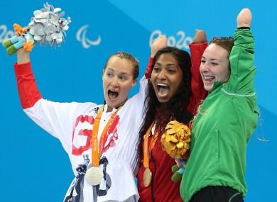 Keane, far right, celebrates with SB8 breaststroke silver medallist Claire Cashmore and gold medallist Katarina Roxon.