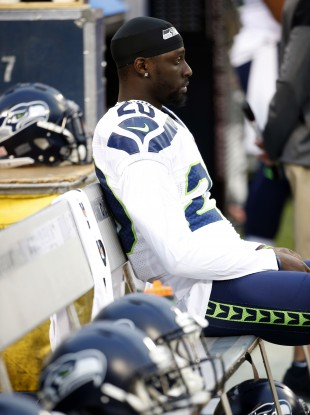 Seahawks cornerback Jeremy Lane sits during the national anthem before last night's game against the Oakland Raiders.