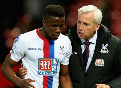 Crystal Palace forward Wilfried Zaha and boss Alan Pardew