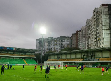 The team trains at the Zimbru Stadium this evening.