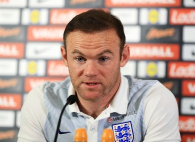 England captain Wayne Rooney speaks to the media.