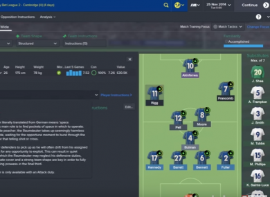 A screenshot from the popular Football Manager game.