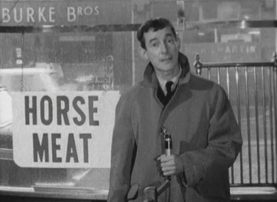 RTÉ reporter Cathal O'Shannon reporting on horse meat for sale in Phibsboro in 1966.