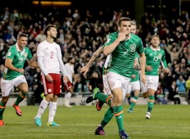 Coleman celebrates his goal.