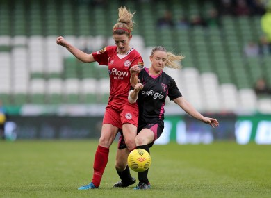 Shelbourne's Siobhan Killeen (left) and Ruth Fahy of Wexford Youths (right) pictured during last season's FAI Cup final.