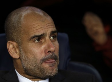 Pep Guardiola watches on at the Camp Nou last night.