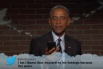 Barack Obama got a dig in at Donald Trump while reading mean tweets about himself last night