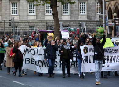 A rally in Dublin against the direct provision system for asylum seekers.