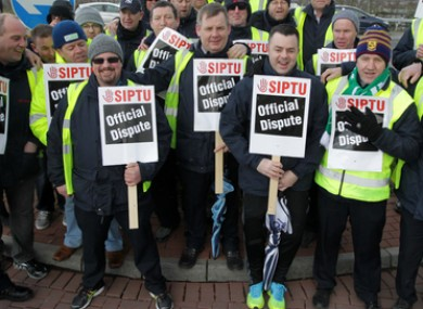 File photo of striking Siptu workers.