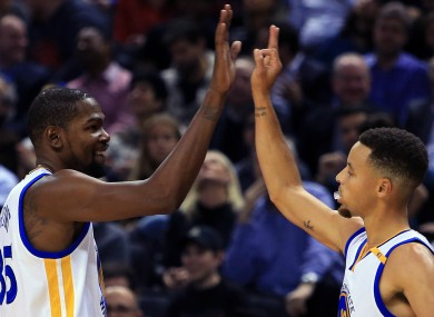 Golden State Warriors duo Kevin Durant and Steph Curry