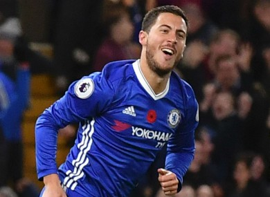 Eden Hazard celebrates a goal against Everton