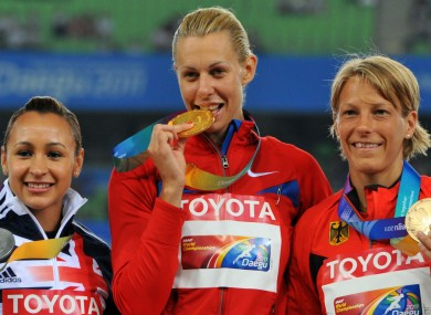 Jessica Ennis-Hill, Tatyana Chernova and Jennifer Oeser in 2011.