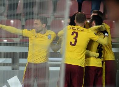 Sparta Prague players celebrate a Europa League against Southampton
