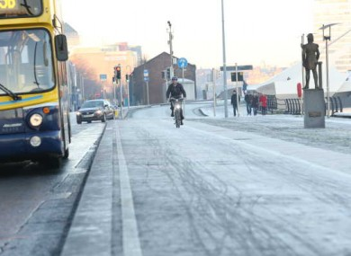 File picture of icy conditions in Dublin city centre.