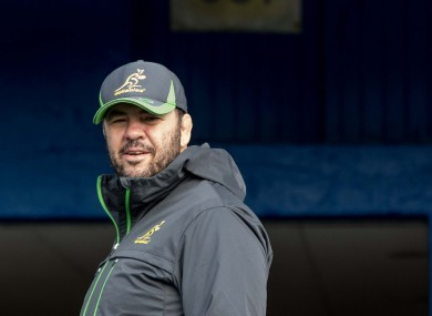Cheika watches over his squad as they trained at the RDS earlier.