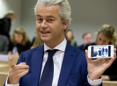 Geert Wilders pictured on Friday.