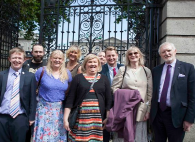 Members of Transgender Equality Network (TENI) celebrating the passage of the bill outside the Dáil on 15 July 2015.