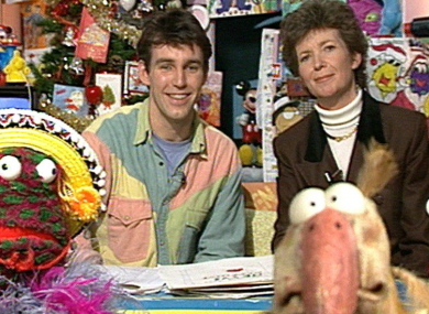 President Mary Robinson visits Ray, Zig and Zag and Dustin on The Den in 1990.