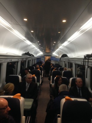Passengers on the first train from Grand Canal Dock to Hazelhatch this morning