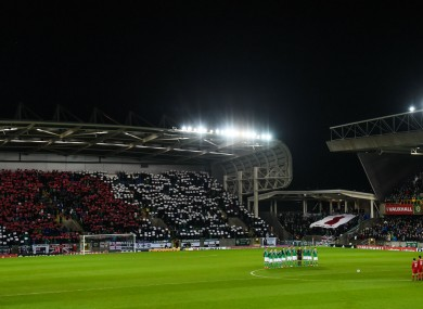 Northern Ireland fans unveil a gigantic poppy display.