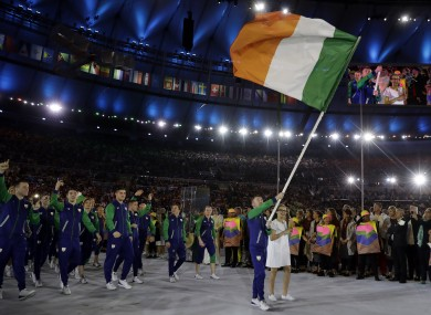 Paddy Barnes carries the Irish flag during the opening ceremony for the 2016 Summer Olympics