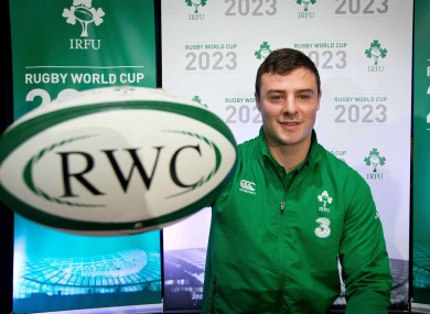 Robbie Henshaw pictured when Ireland formally announced their intention to bid for RWC 2023 two years ago.