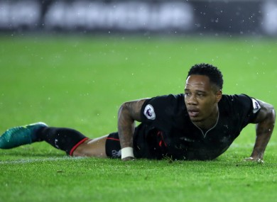 Liverpool's Nathaniel Clyne reacts to a missed shot.