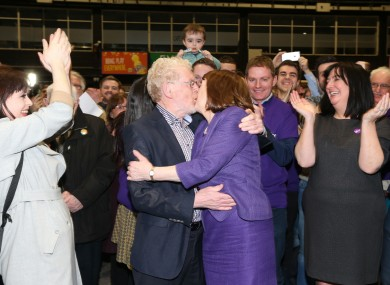 Roisin Shortall from the Social Democrats  celebrates being re-elected with her husband Seamus.