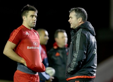 Then-Munster head coach Anthony Foley with Conor Murray in 2015.