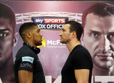 The two fighters standing toe-to-toe during today's press conference.
