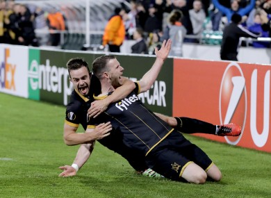 Just Europa: Benson, left, and Kilduff celebrate the famous winner against Maccabi.