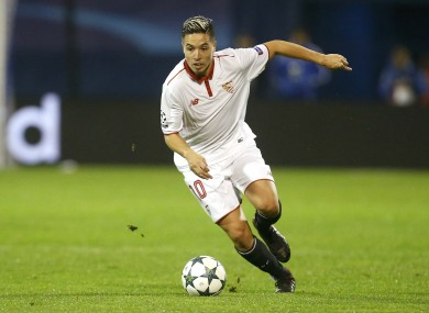 Samir Nasri controls the ball during the Champions League Group H soccer match between Dinamo Zagreb and Sevilla.
