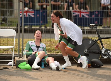 Eve McCrystal (left) and Katie-George Dunlevy (right) react to their success at the Paralympics.