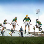 Glen Rovers rise for the warm-up in the Gaelic Grounds.<span class=
