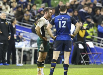 JJ Hanrahan and Robbie Henshaw have a word during Saturday's match.