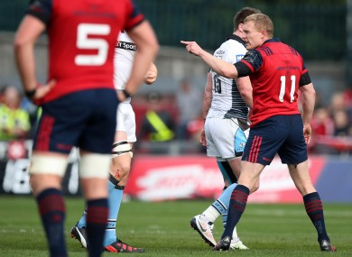 Keith Earls was sent off against Glasgow Warriors at Thomond Park on 22 October.