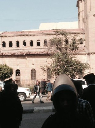 Damage is seen to the exterior of St. Mark Cathedral in central Cairo, following a bomb blast