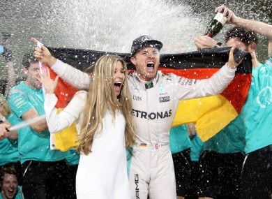 Nico Rosberg celebrates winning the F1 world championship in November.