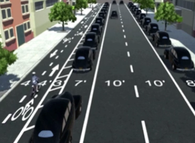'Parking protected' cycle lanes.