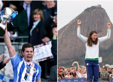 Darragh Nelson (left) lifts the Andy Merrigan Cup in March and Annalise Murphy celebrates on the podium in Rio.