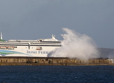 An Irish Ferries vessel sails into Holyhead.