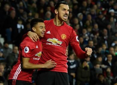 Zlatan Ibrahimovic and Jesse Lingard celebrate against West Brom