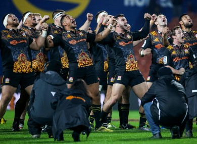 Chiefs players perform a haka before trouncing Wales last summer.