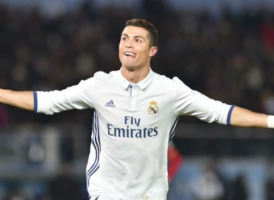 Real Madrid's Cristiano Ronaldo celebrates a goal against Kashima Antlers