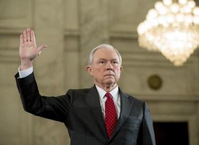 Attorney General-designate, Senator Jeff Sessions, is sworn in on Capitol Hill in Washington today
