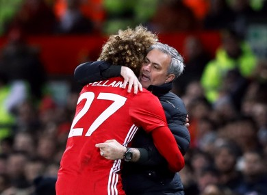 The Belgian celebrates his goal against Hull with Mourinho.