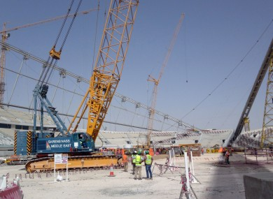 2014 file photo of work at the Khalifa International Stadium.