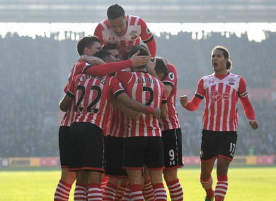 Southampton players celebrate against Leicester