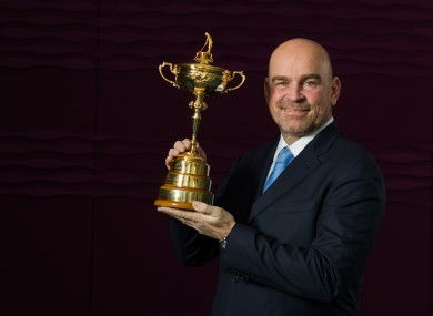 Thomas Bjorn with the Ryder Cup.
