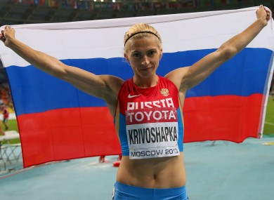 Russian athlete Antonina Krivoshapka.